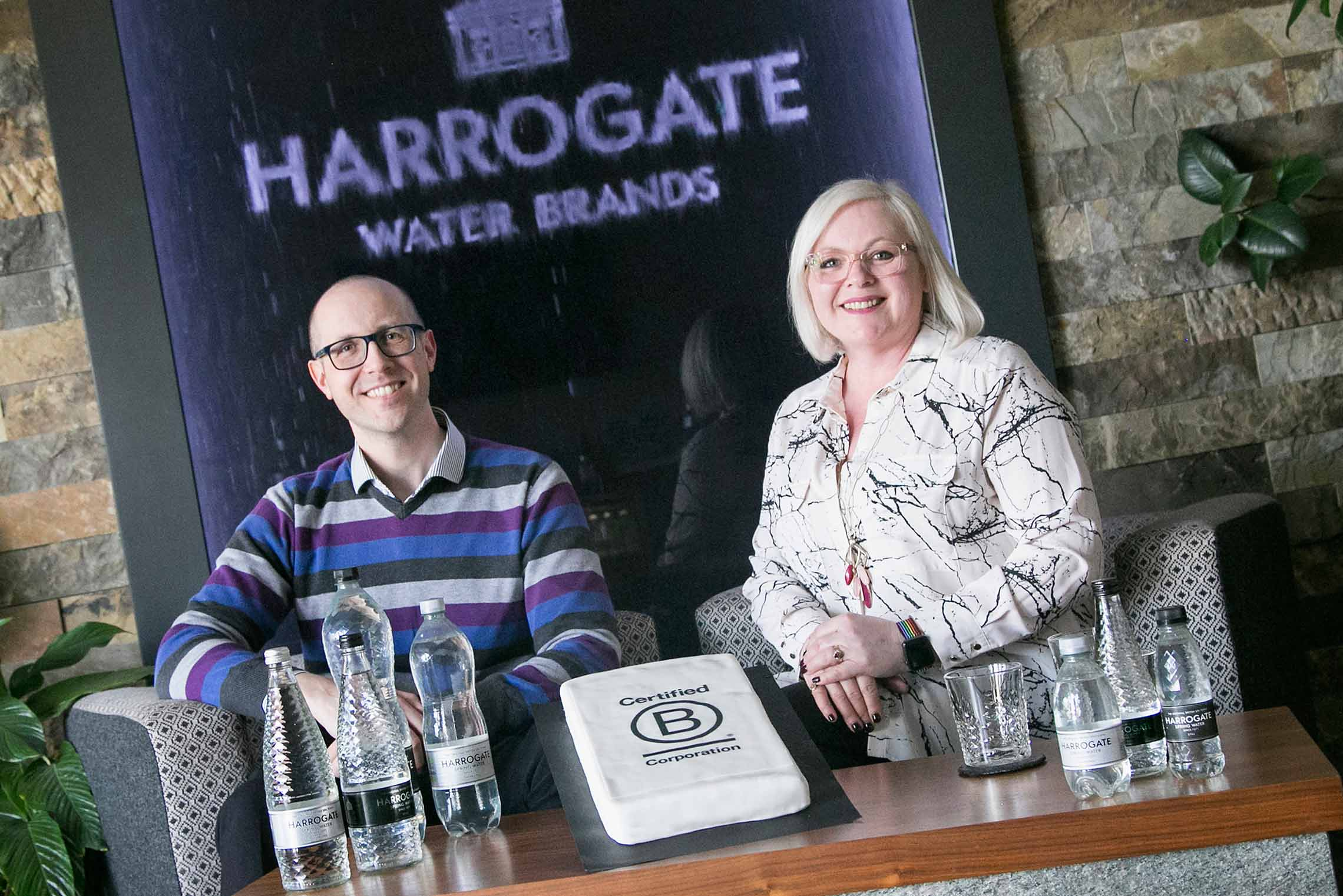 HR manager Fiona Warrington and compliance manager Alan Sandel led Harrogate Water B Corp bid