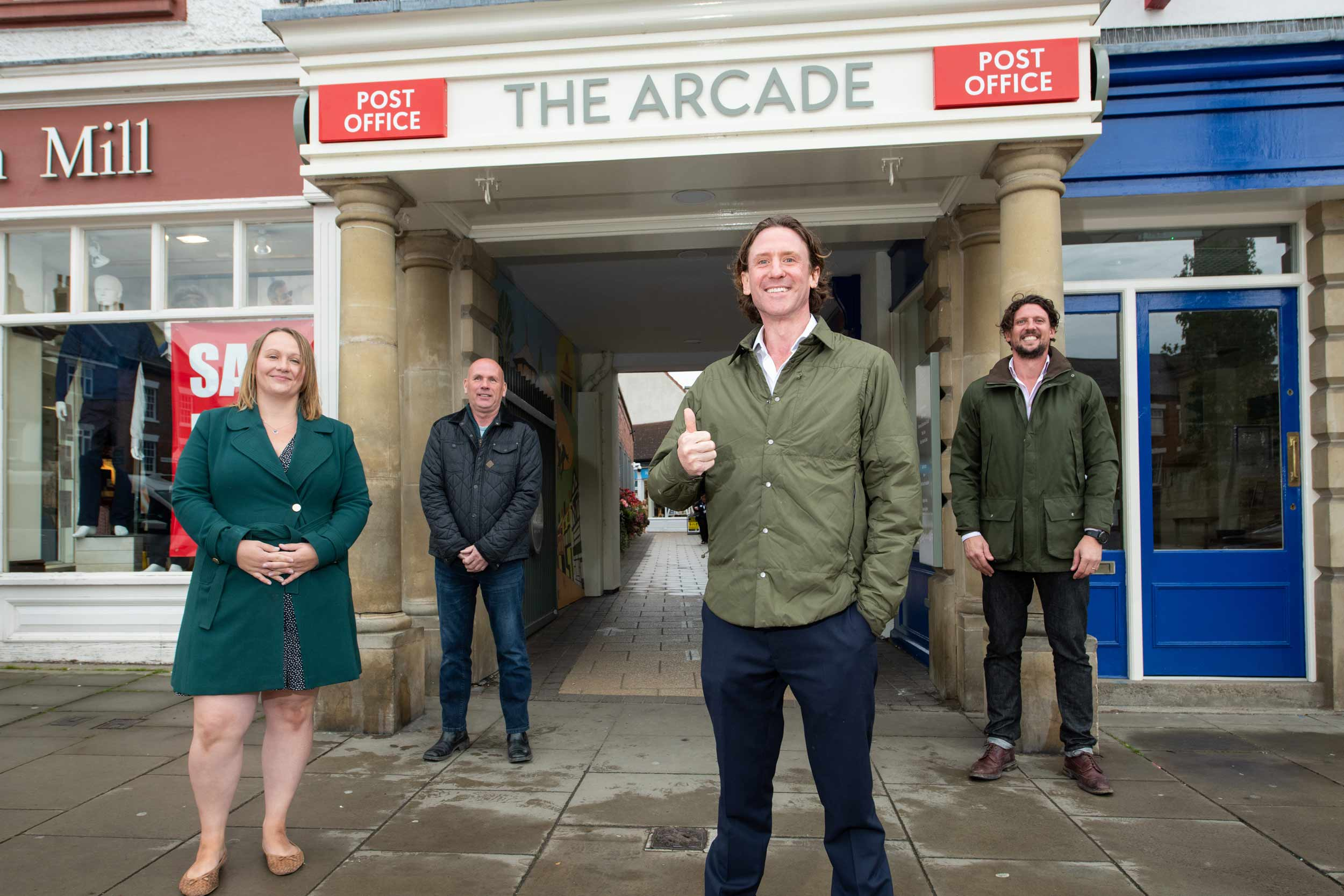 the team from Frank Marshall Estates, who masterminded the refurbishment of the arcade, Kelly Jagger, Chris Balme, Edward Marshall and Jimmy Marshall