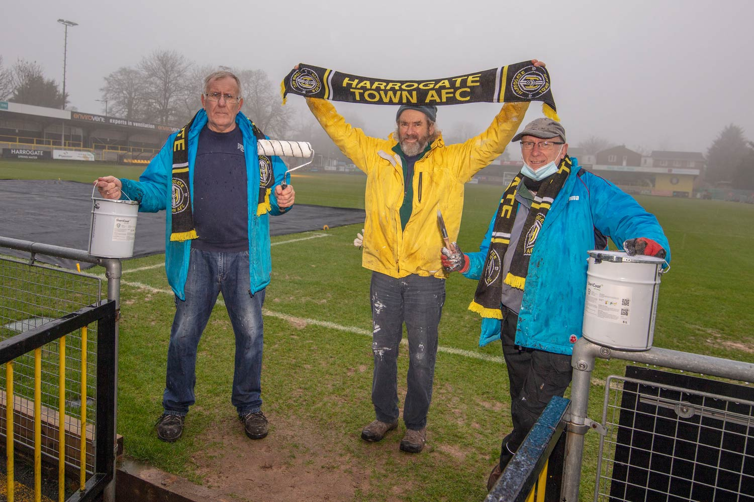 Volunteers (L-R) John Fall played for Harrogate Town in the 1960's , Ed Hess, this is his first year of volunteering and 66 year old Chris Clewes has been volunteering for three years